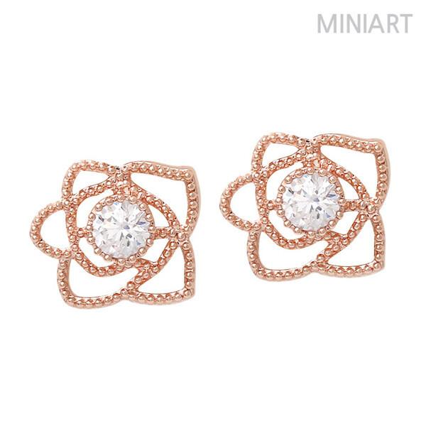 (현대Hmall) 미니아트  로즈골드 14K Gold-pin 귀걸이 MS163 상품이미지
