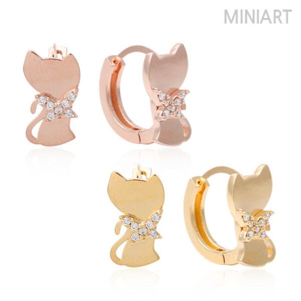 (현대Hmall) 미니아트  루나 14K Gold-pin 귀걸이 원터치링 2종 택1 상품이미지