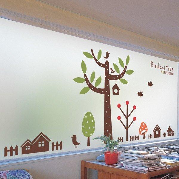 dgcn061-행복한 나무-무점착 반투명 창문 시트지 상품이미지