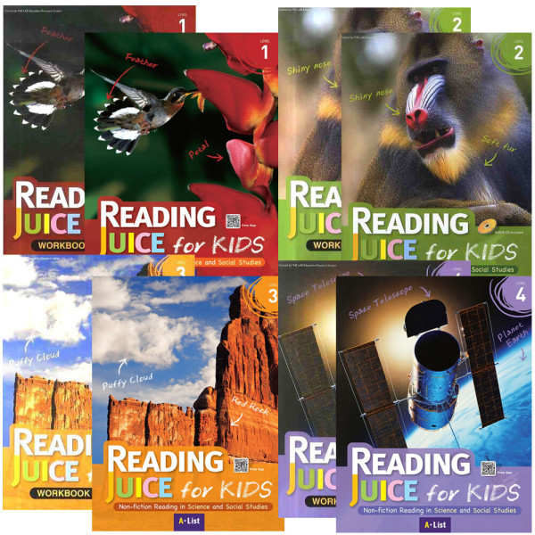 Reading Juice for Kids 1~4단계 S+W 전8권  / 볼펜+붙이는메모지 증정 상품이미지