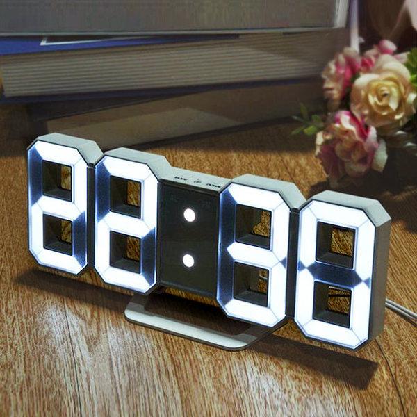 더스윗 3D LED 벽시계 탁상시계 무소음 알람시계 미니 상품이미지