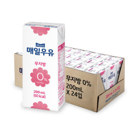 무지방 0% 멸균우유 200ml x24팩 /우유(+증정)