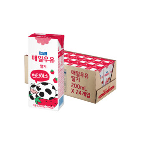 딸기 멸균우유 200ml 24팩 /우유/매일/딸기우유