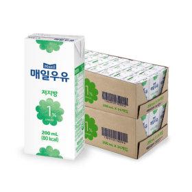 저지방1% 멸균우유 200ml 48팩 /우유/두유/매일