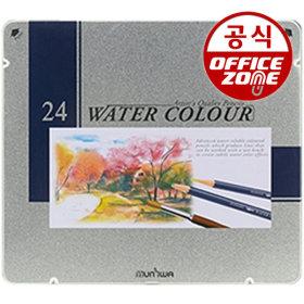 문화 24색 수채화색연필(틴) 수채 색연필 나무