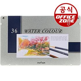 문화 36색 수채화색연필(틴) 수채 색연필 나무