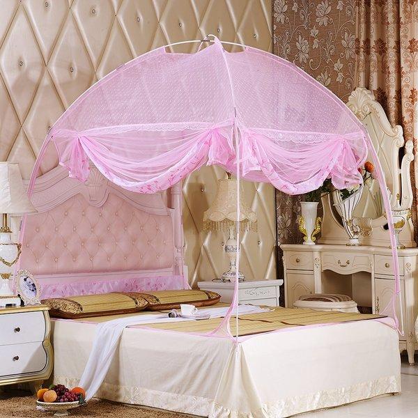 유니룸 돔형 사각 모기장(180x200cm) (핑크) 상품이미지