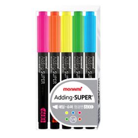 모나미 에딩슈퍼 형광펜 5색 세트 필기 학용품