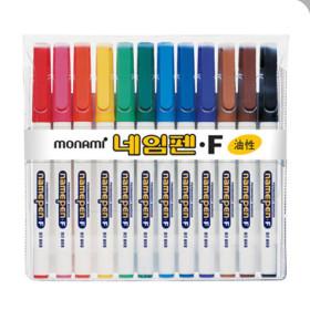 모나미 네임펜 F 중간글씨용 12색 세트 유성펜