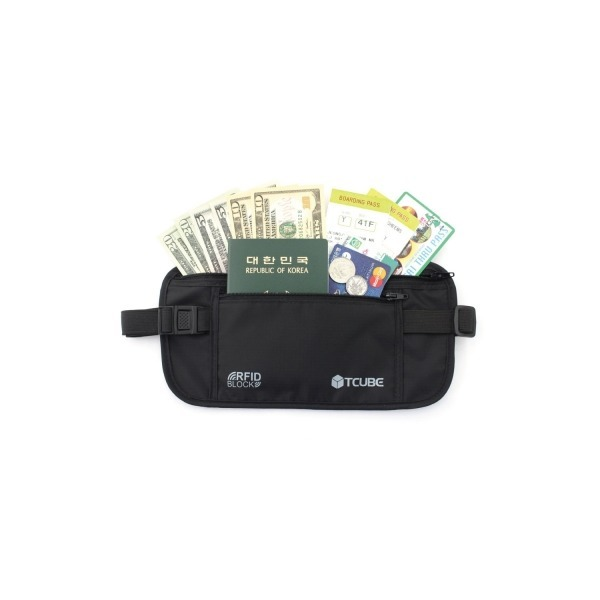 TCUBE  RFID 개인정보 해킹방지   소매치기방지 안전복대-블랙 상품이미지
