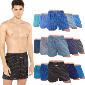Various branded men`s boxers and sleeveless top / plaid / solid color / striped / patterned /