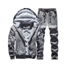 HK GOLDEN BRIDGE Fleece lined zip-up hoodie set / straight fit pants / camo patterned /