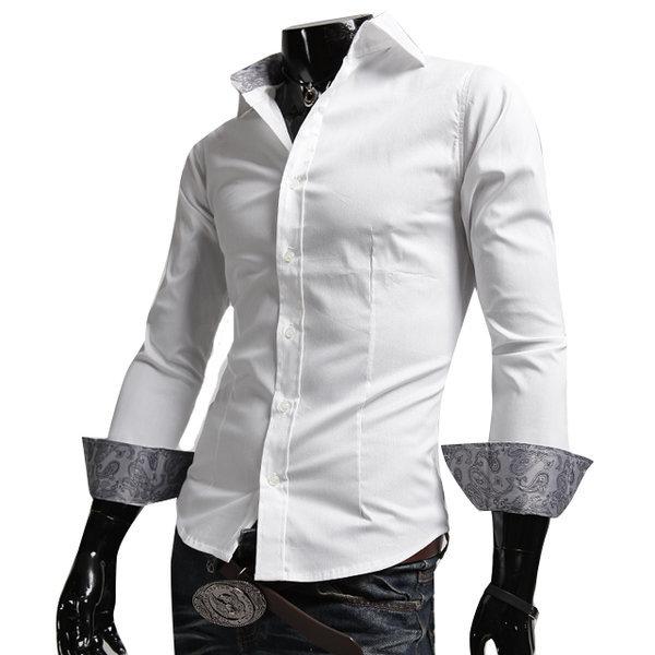 정장 에스닉 포인트 슬림핏 쓰리버튼 긴팔셔츠 DP185S 상품이미지
