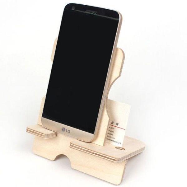 자작나무 스마트폰 거치대 탁상용 조립식 나무거치 상품이미지