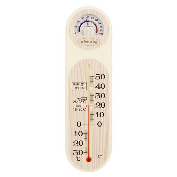 (현대Hmall)나이스데이 무늬목 온습도계 아날로그 습도계 온도습도계 상품이미지