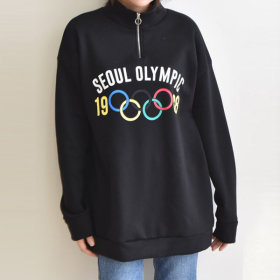Seoul Olympic Zip Up T-Shirt with Logo, Neck T-Shirt/Zip Up Neck T-Shirt