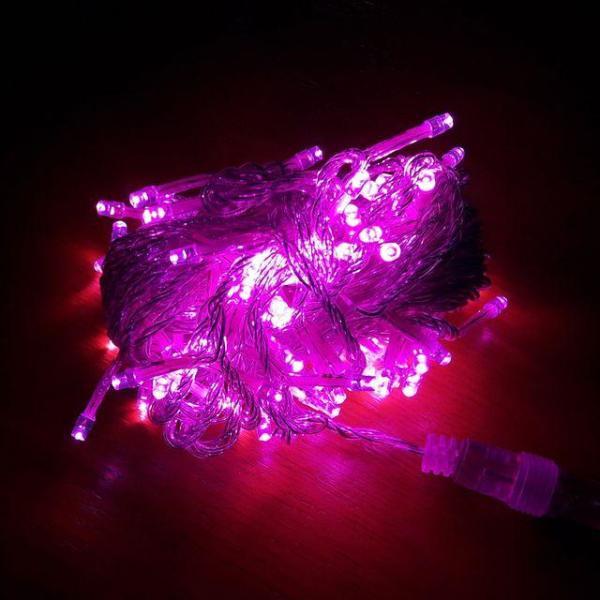 LED트리전구 100구 핑크 투명선 점멸전원코드포함 상품이미지