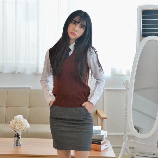 교복조끼 와인색 자주색 교복 교복쇼핑몰 학교 상품이미지