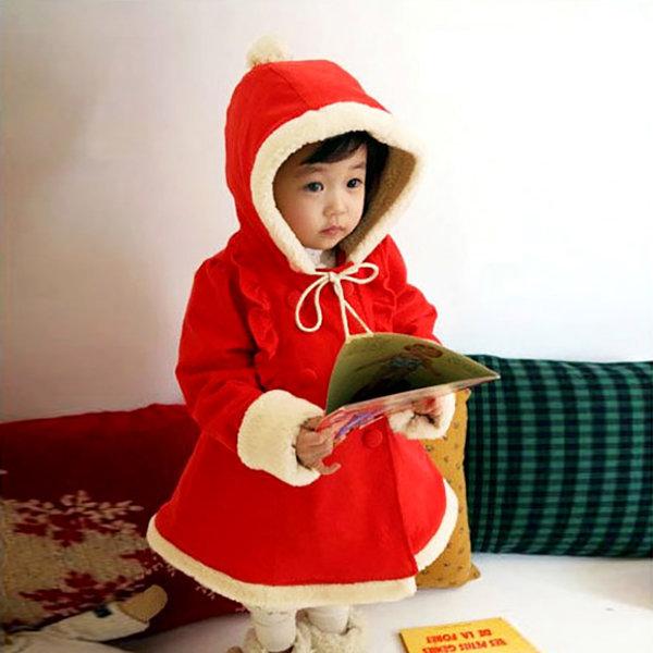 샤샤빨간코트 여아코트 방울모자 망토코트 빨간코트 상품이미지