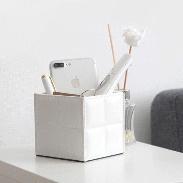 모던스타일 홈데코 책상정리 가죽 큐브 핸드폰 펜홀 상품이미지