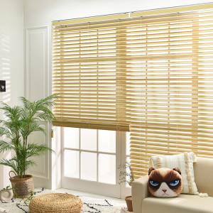 [아라크네]1+1 우드블라인드 오동나무 원목 화이트 창문 거실