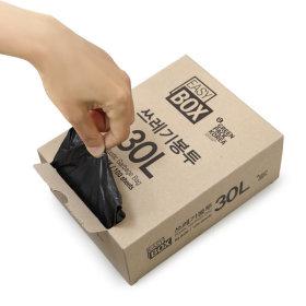 이지박스 쓰레기봉투 30L 100매입 블랙 /비닐봉투 / S