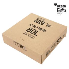 이지박스 쓰레기봉투 80L 40매입 백색 /비닐봉투 / S