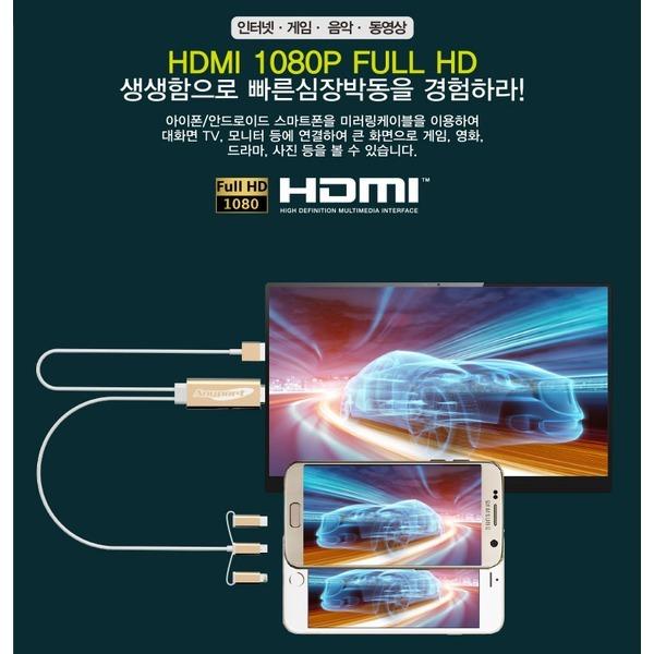 AP-MW9 애니포트 5핀+8핀+C타입 겸용 HDMI미러링MHL케 상품이미지