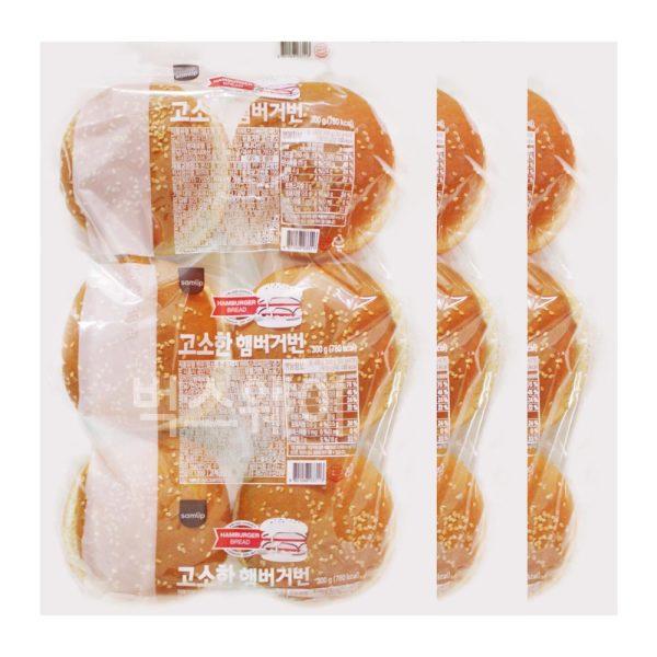 삼립 햄버거빵 3봉(총 18개입)/햄버거재료 수제버거 상품이미지