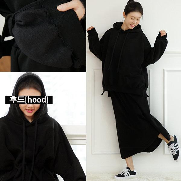 임부복 스커트와 후드티셔츠 세트 대빵큰옷 치마와 티 상품이미지