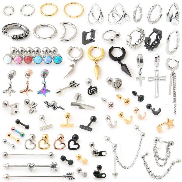 써지컬스틸 피어싱 세그먼트링 체인 드롭 자석 귀걸이 상품이미지