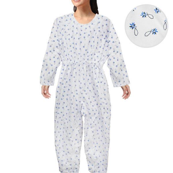 환자용 꽃무늬 우주복(블루꽃무늬-사이즈95) 상품이미지