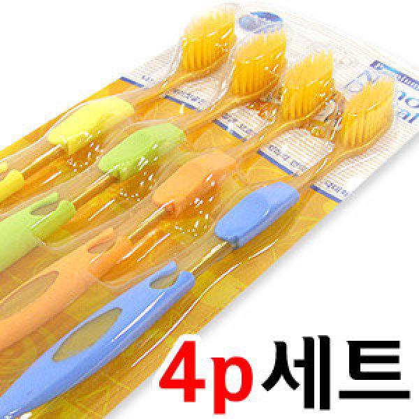 덴탈케어 항균 금칫솔 4P/부드러운 프리미엄 미세 이중모/향균력 향상/욕실금치솔살균기치약때비누 상품이미지