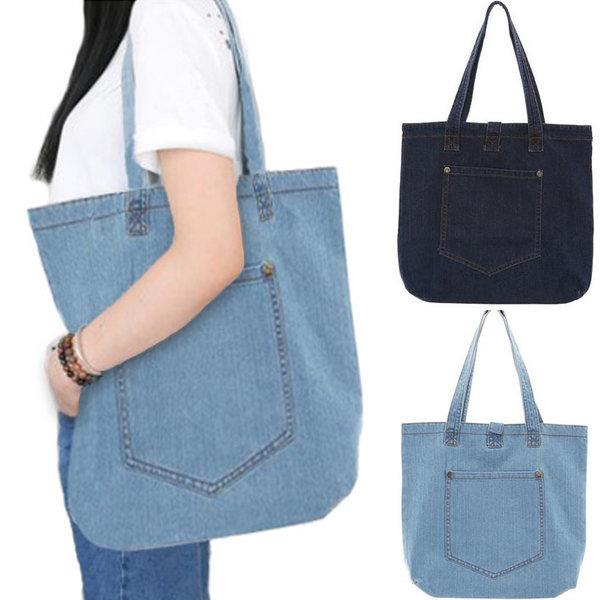 원포켓 청 에코백 학생가방 숄더백 여성가방 보조가방 상품이미지