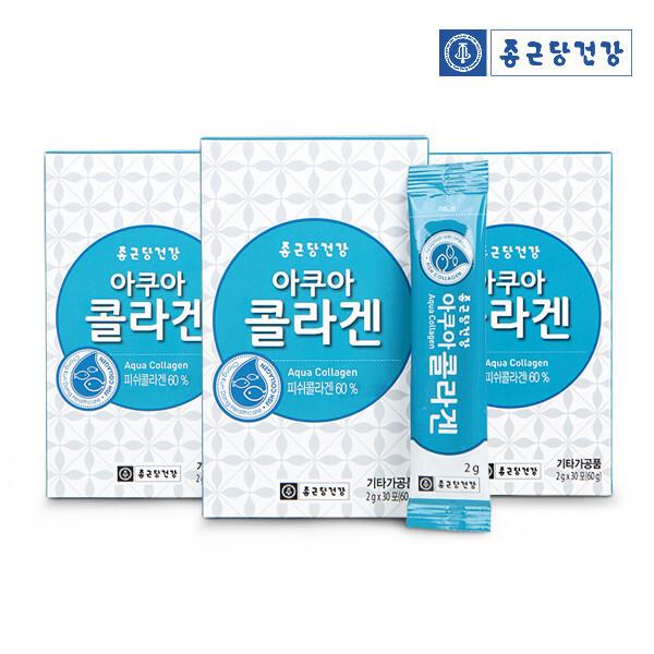(현대Hmall) 종근당건강  아쿠아 콜라겐 (피쉬콜라겐 60%함유 30포) -3박스 상품이미지
