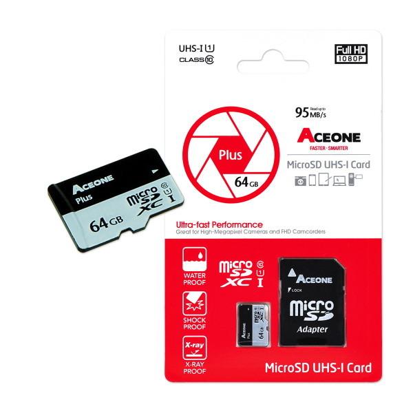 에이스원  플러스 마이크로SD 초고속 메모리 64GB UHS-I Class10 상품이미지