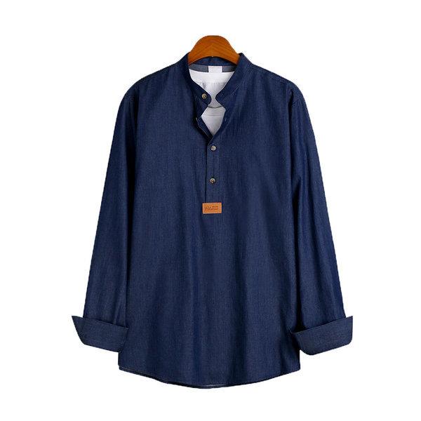 베이직 데님 헨리넥 셔츠 / 긴팔셔츠 MSH-536 상품이미지