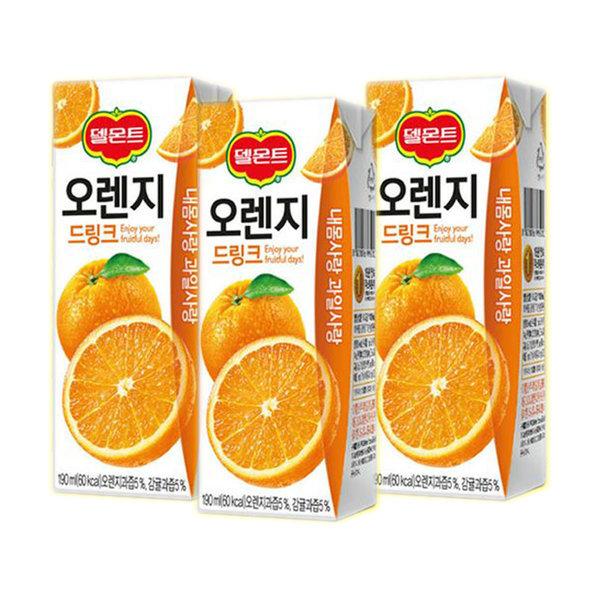 델몬트드링크 오렌지 190mlx24팩/포도/망고/사과 상품이미지
