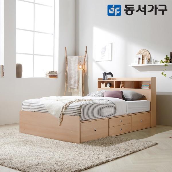 동서가구  베루만 수납헤드 깊은서랍 슈퍼싱글 침대+양면 매트리스 DF63598G 상품이미지