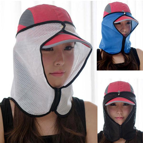 지퍼형햇빛가리개 화이트 자외선차단마스크 썬캡 모자 상품이미지