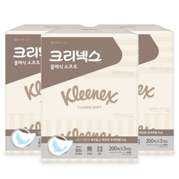 각티슈/티슈 클래식 200매 3개입 x3개 상품이미지