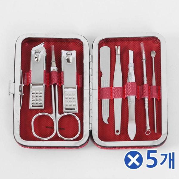 휴대용 네일케어 손톱깎이 8종세트-레드x5개 손톱정 상품이미지