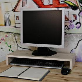 모니터받침대 컴퓨터 책상 모니터 받침 선반 / 원목색