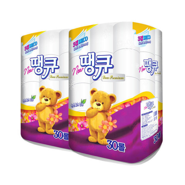 NEW땡큐 화장지 (30롤 x 2팩) / 3겹 두루마리 휴지 상품이미지