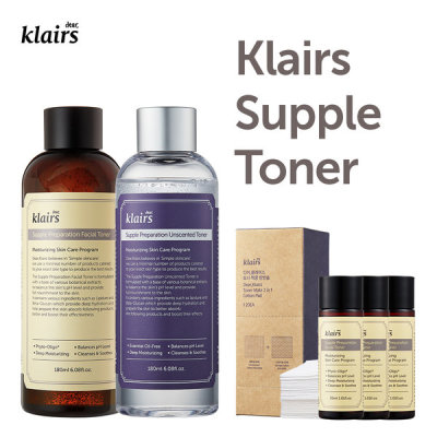 Klairs Supple Preparation Facial Toner+Unscented Toner/Free gift/Cotton Pad/Mini Toner/Samples
