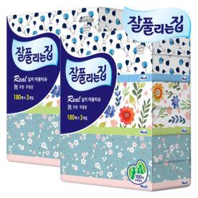 잘풀리는집 미용티슈 (180매3갑 x 2팩) / 곽티슈 휴지
