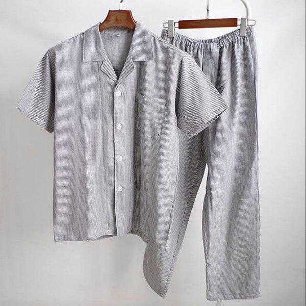 반팔 스트라이프 순면 커플 파자마 무지 잠옷 홈웨어 상품이미지
