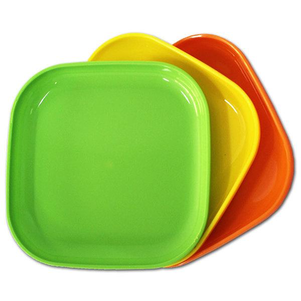 파스텔 정사각 쟁반 1호 3P 13cm 플라스틱 접시 그릇 상품이미지