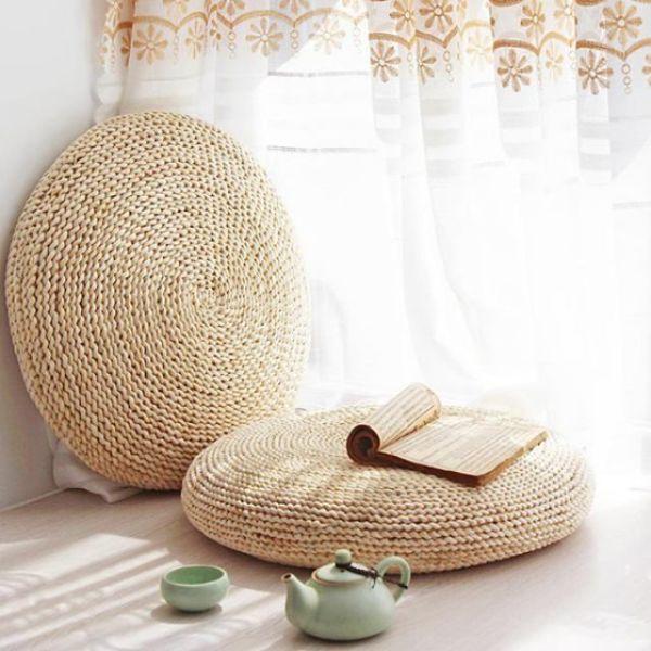라탄 해초 왕골 짚 원형 대형 핸드메이드 방석 60cm 상품이미지