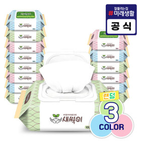 미래생활 새싹이 물티슈 캡형 100매 15팩/화장지